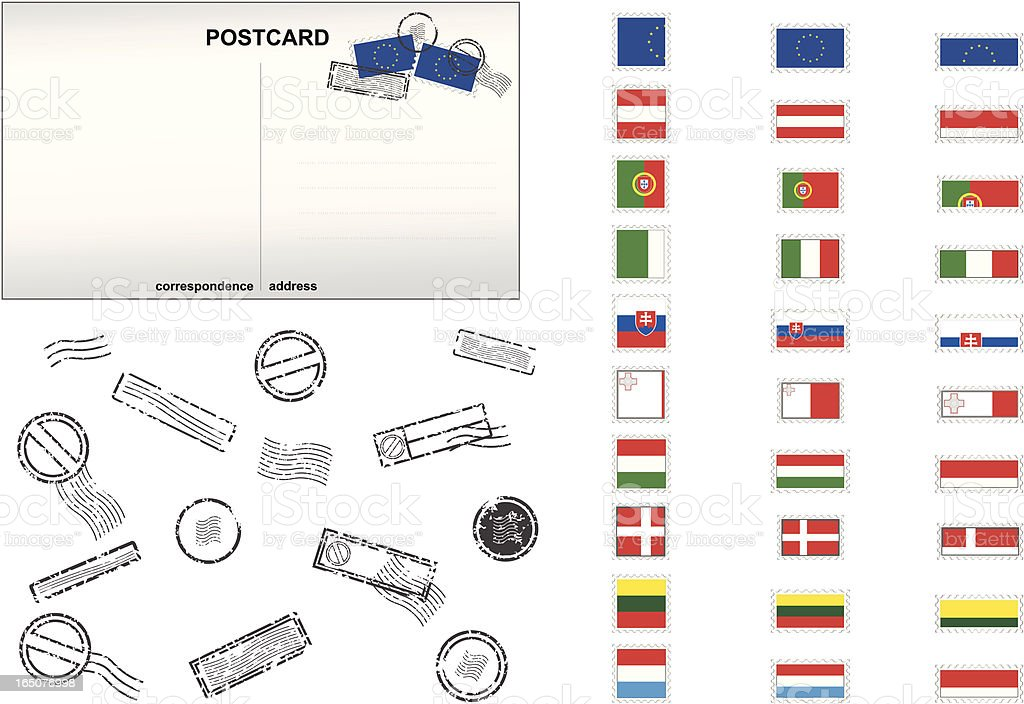 European Union Post Stamps No. 3 royalty-free stock vector art