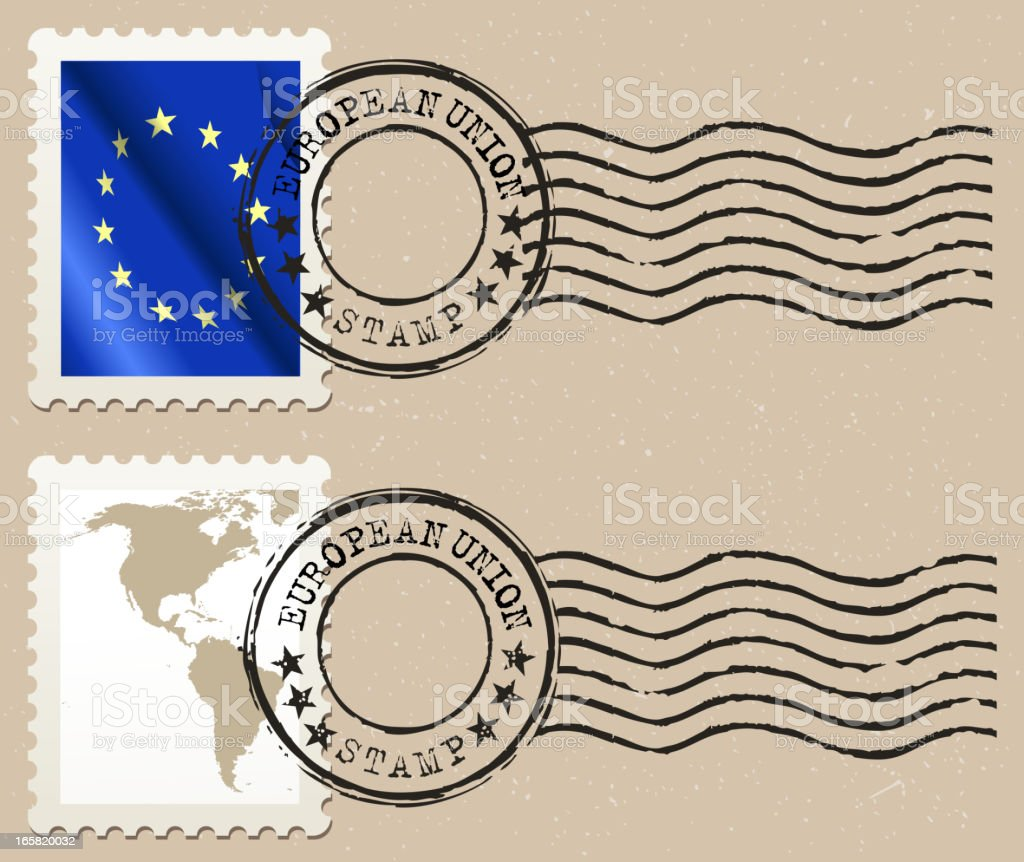 european union postage stamp royalty-free stock vector art