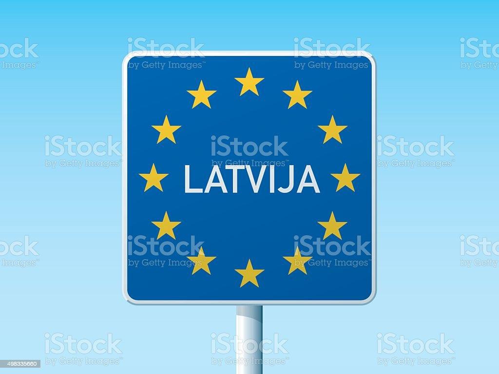 European Union State Border Latvia Road Sign vector art illustration