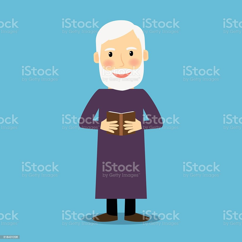 Evangelist old man with book vector art illustration