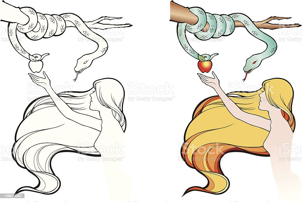 Eve with snake royalty-free stock vector art