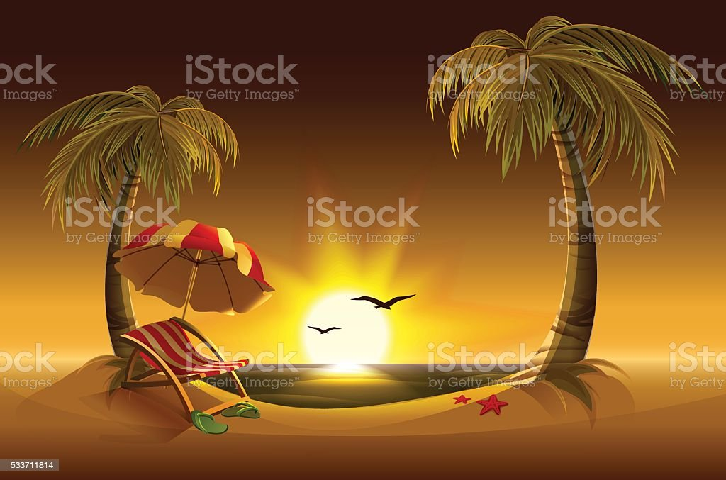 Evening beach. Sea, sun, palm trees sand. Romantic summer vacation vector art illustration