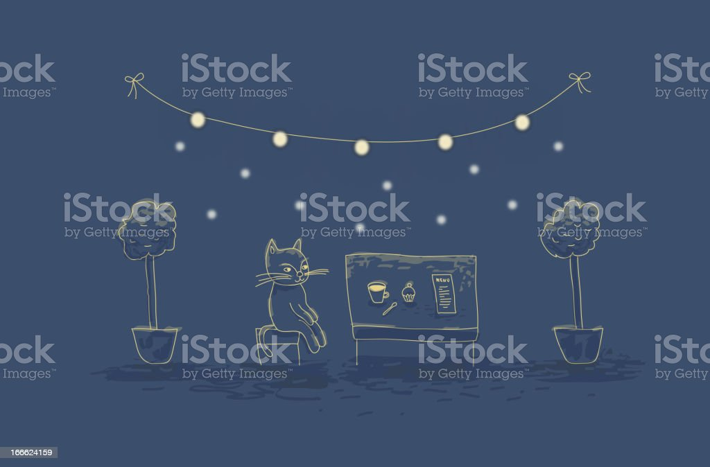 Evening cafe royalty-free stock vector art