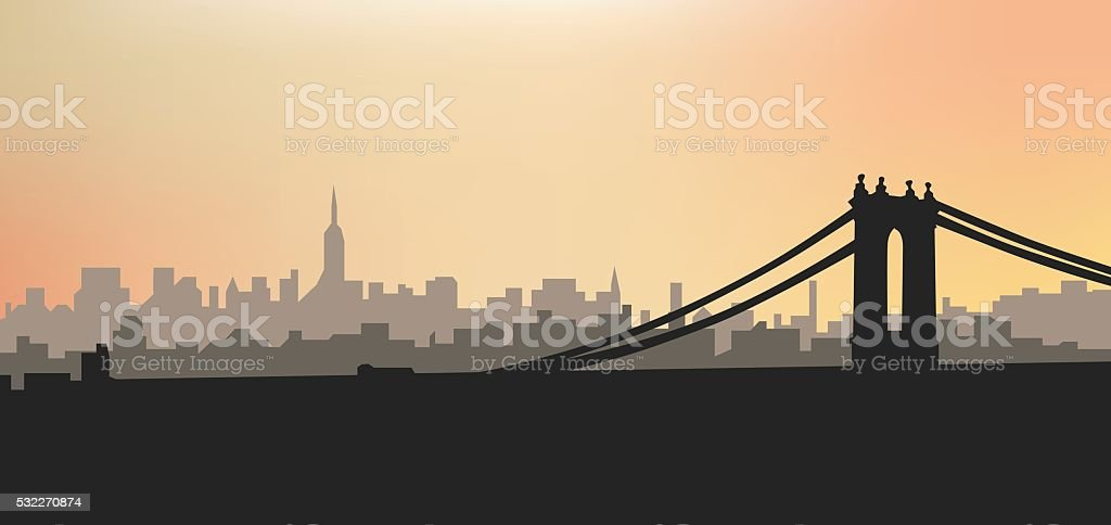 Evening city silhouette. S vector art illustration