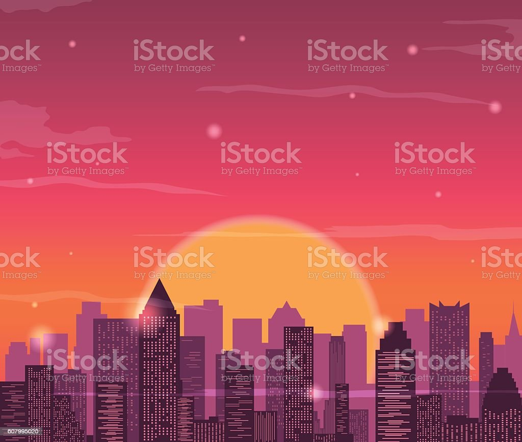 Evening city skyline. Buildings silhouette cityscape. vector art illustration