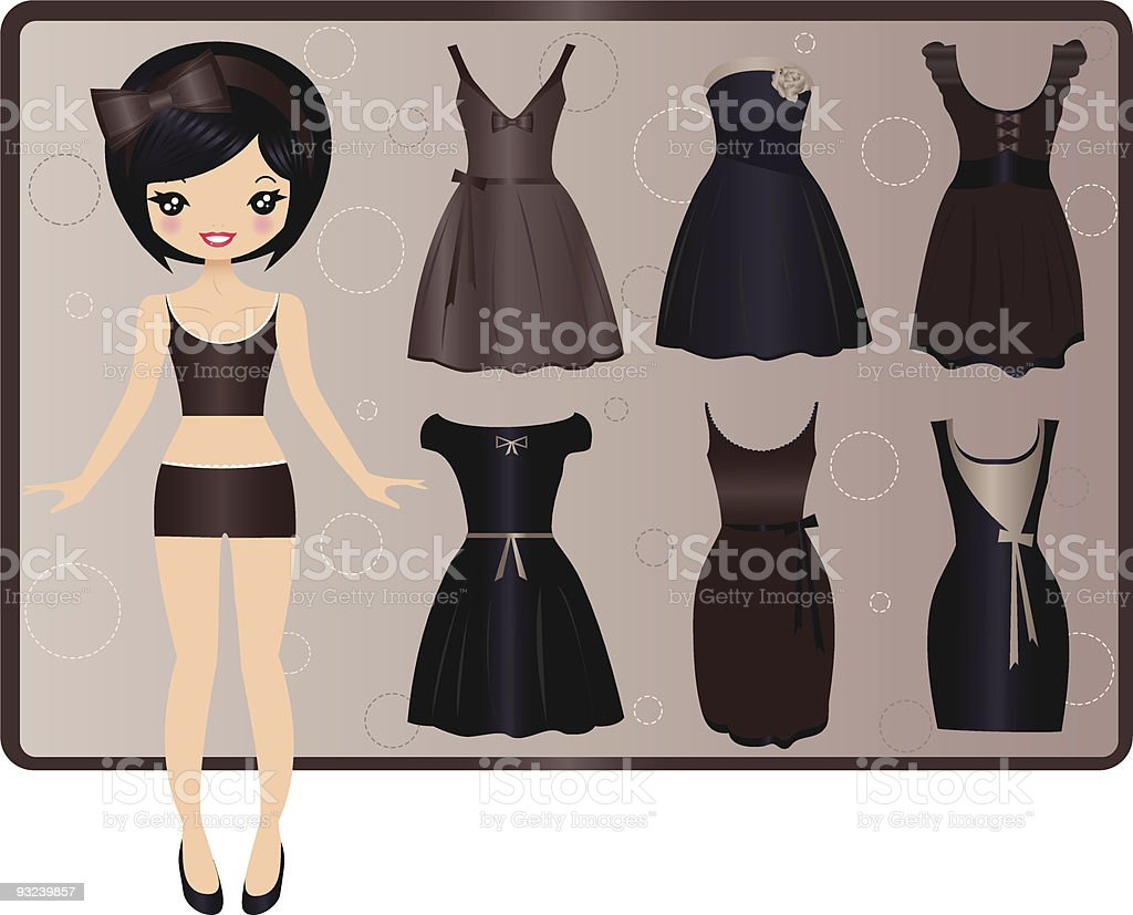 Evening dresses vector art illustration