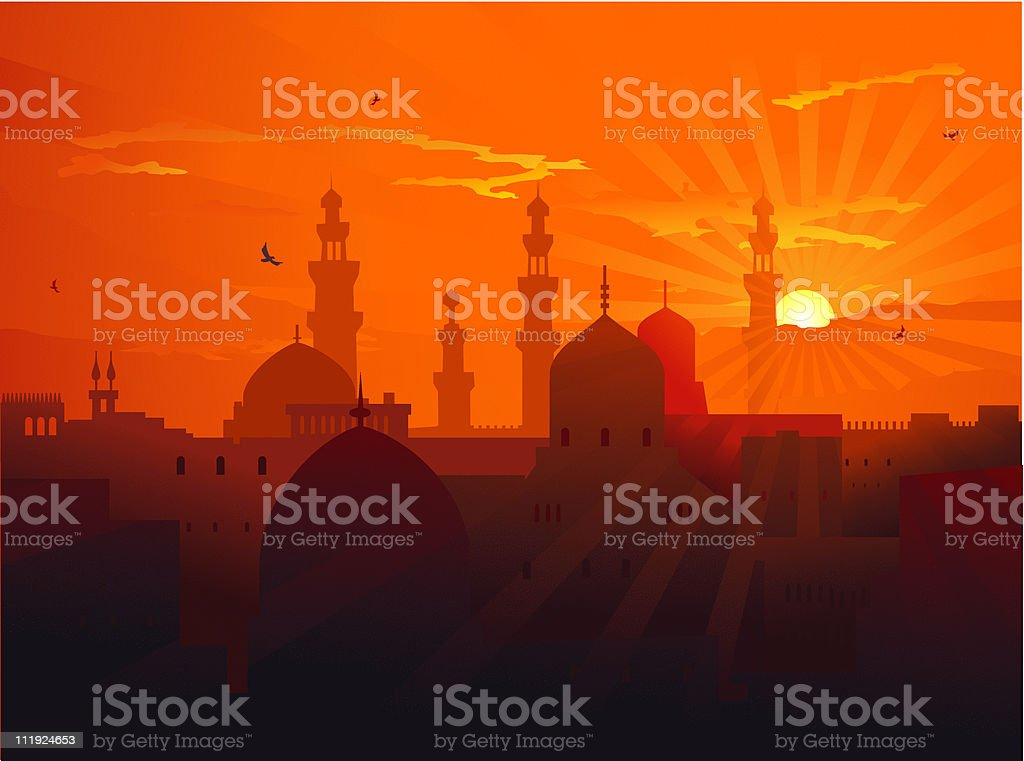 evening east landscape royalty-free stock vector art