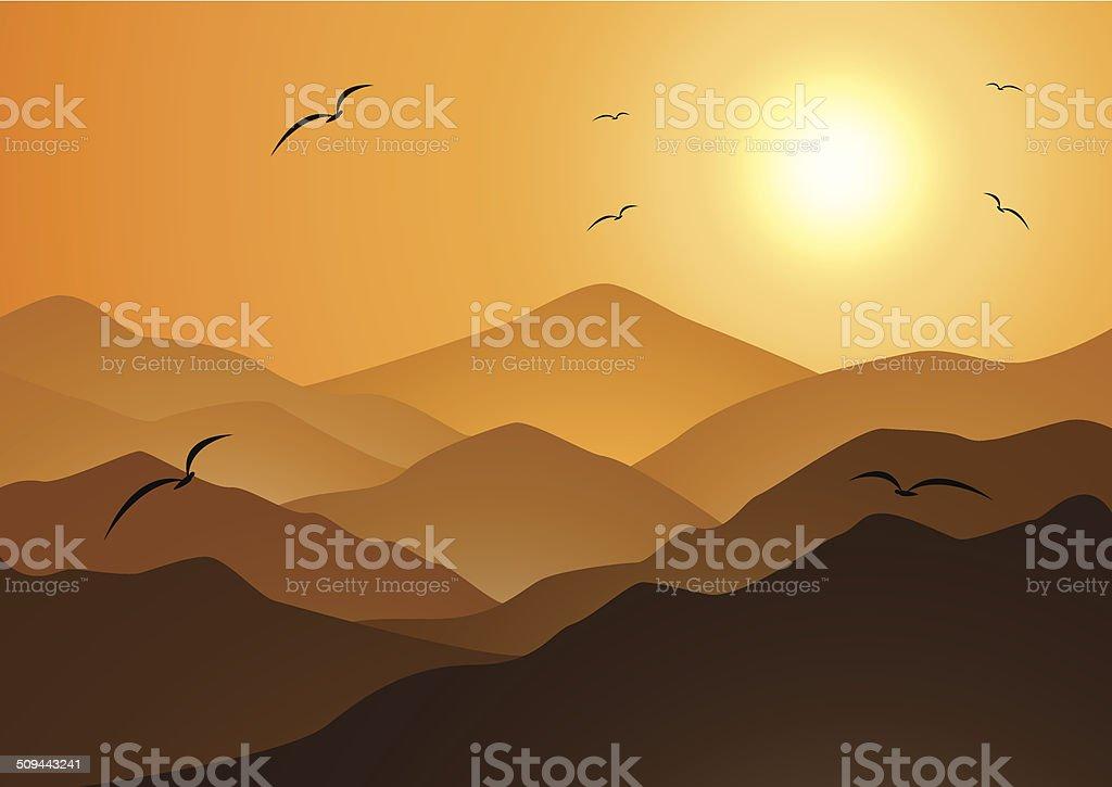 Soirée, les montagnes et le coucher de soleil stock vecteur libres de droits libre de droits