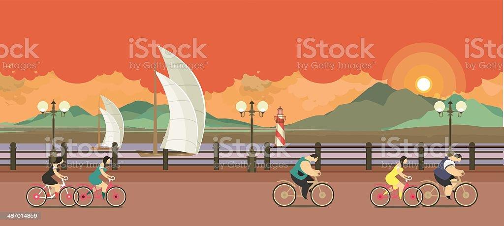 evening pier cyclists vector art illustration