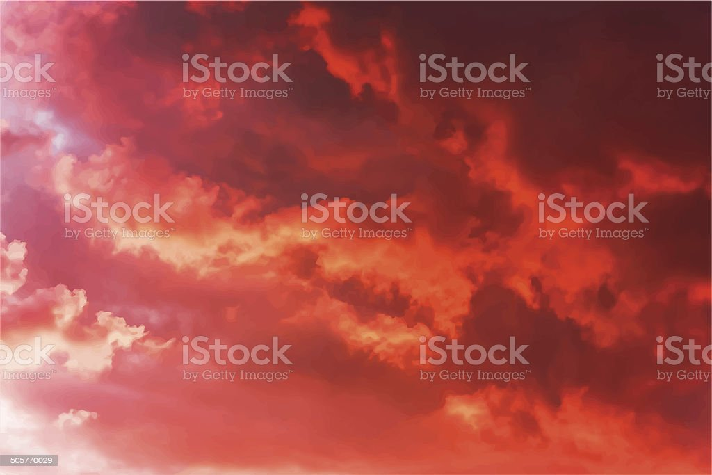 Evening sky vector art illustration