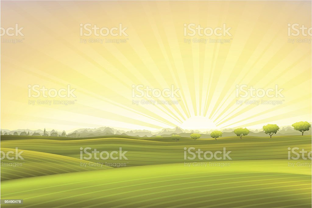 Evening summer pastoral scenery royalty-free stock vector art