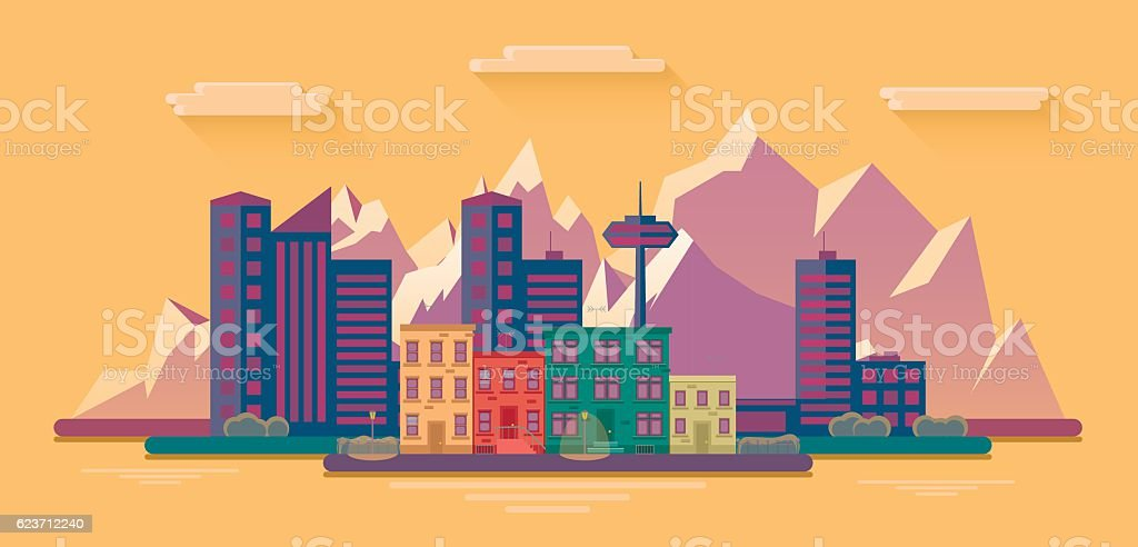 evening view of the city on a background of mountains vector art illustration