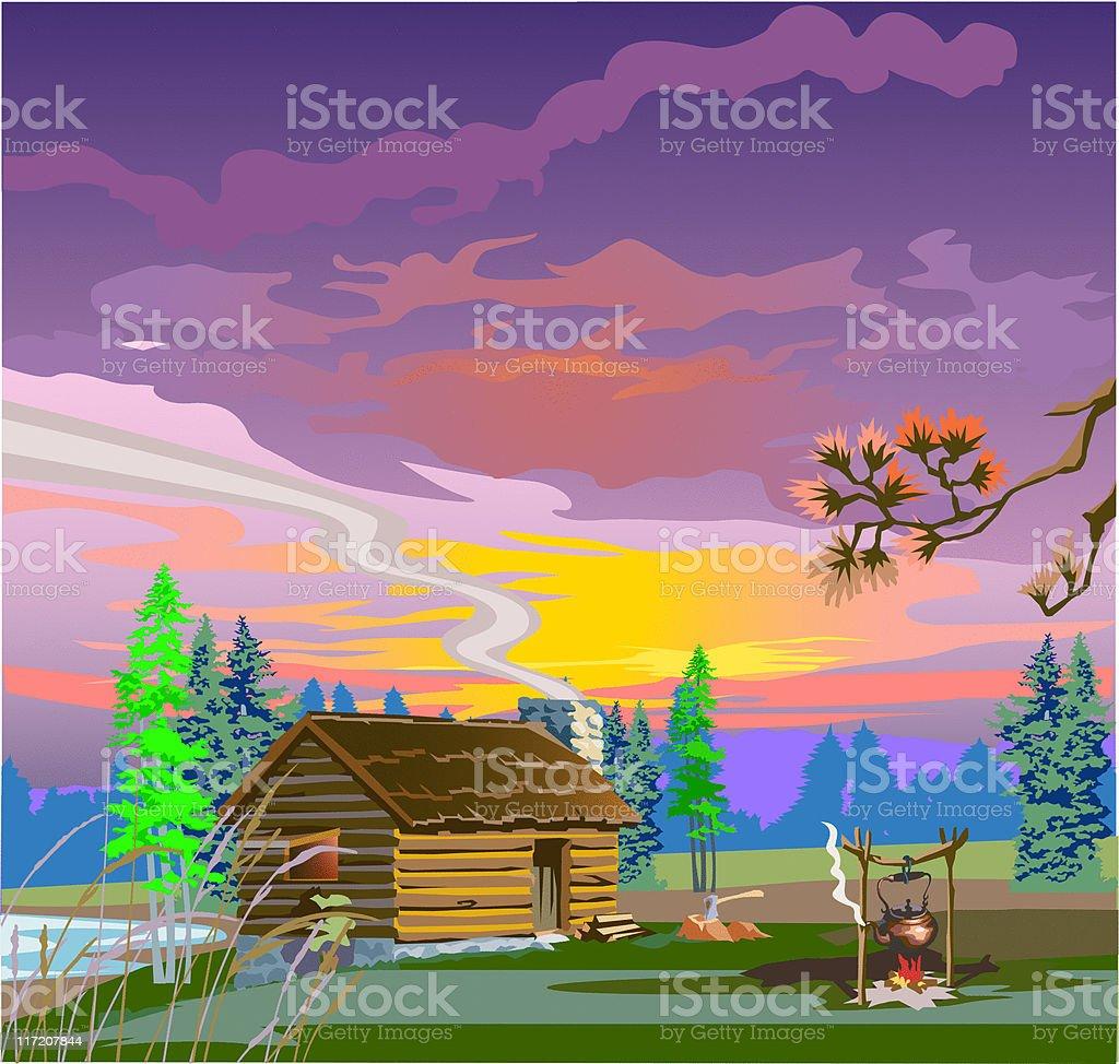 Evening village scene royalty-free stock vector art