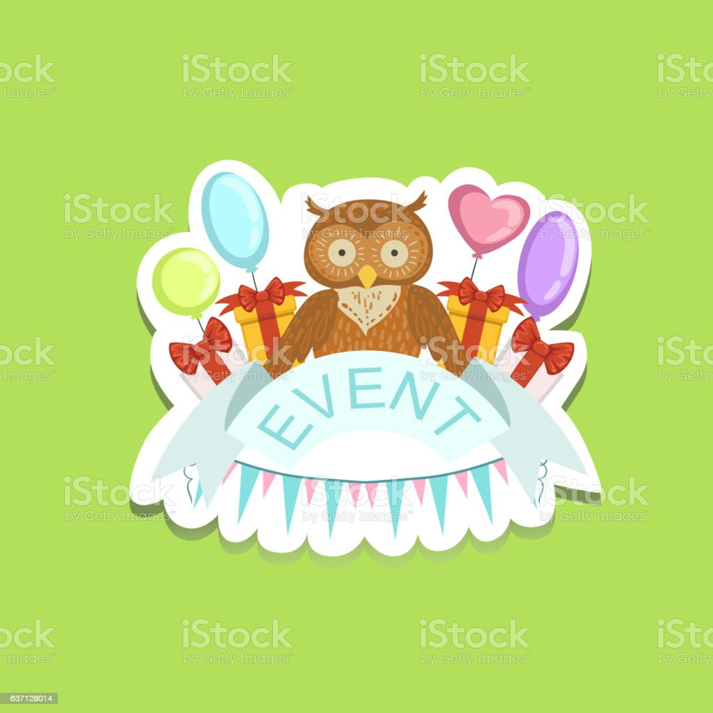 event template label cute sticker with owl のイラスト素材 637128014