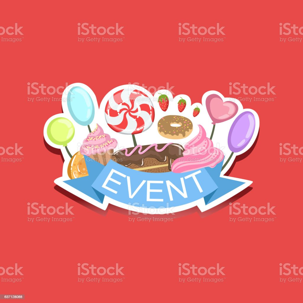 event template label cute sticker with sweets のイラスト素材