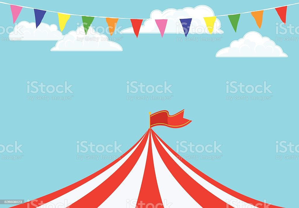 Event Tent and Banner Flags Background vector art illustration