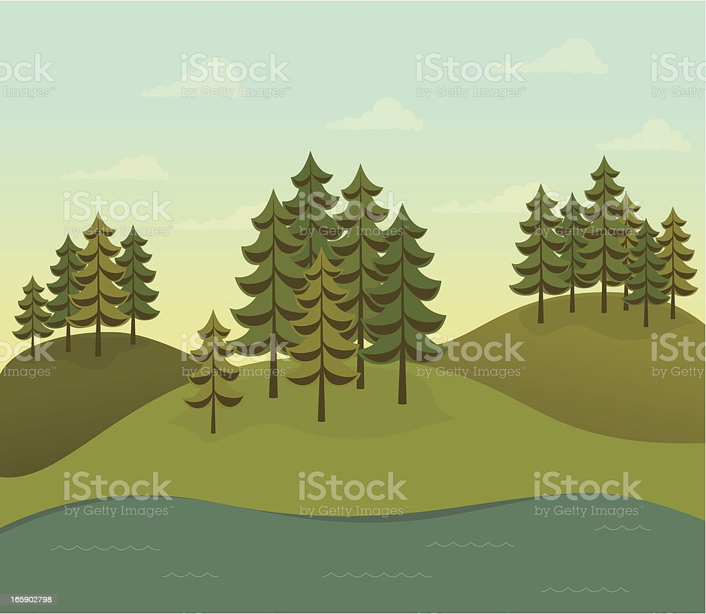 Evergreen forest on hills with river vector art illustration