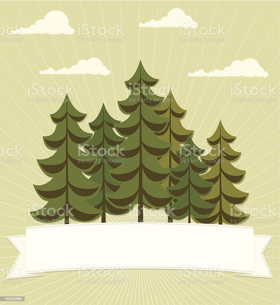 Evergreen forest with banner vector art illustration