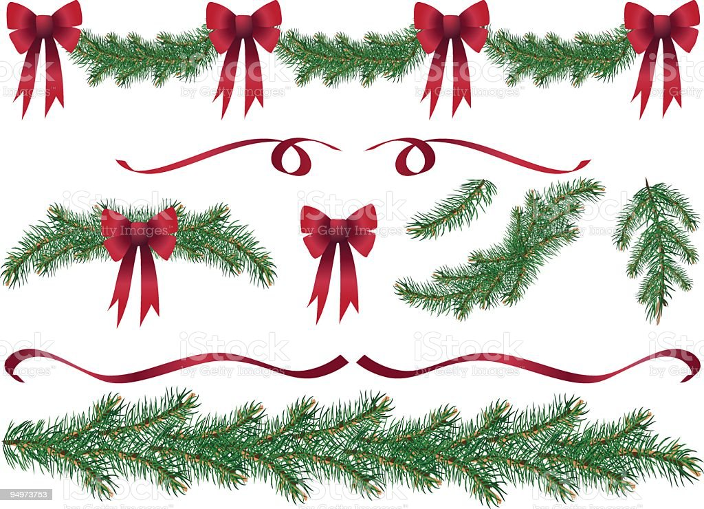 Evergreen Garland Swags and Design Elements Clipart with Red Bows royalty-free stock vector art