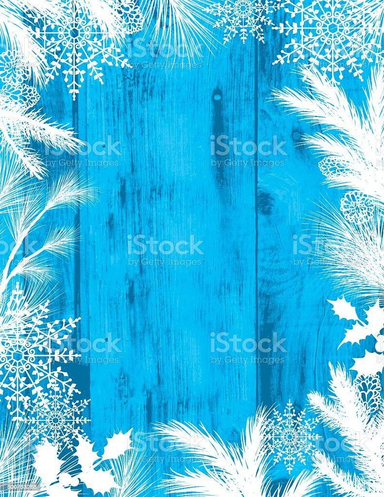 Evergreen Silhouettes On A Wood Textured background With Copy Space vector art illustration