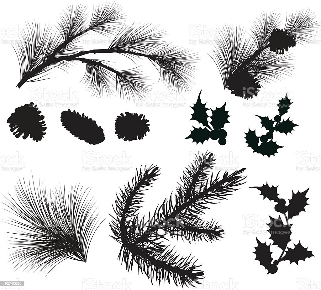 Evergreen Sprigs and Holly Leafs Silhouettes Clipart vector art illustration
