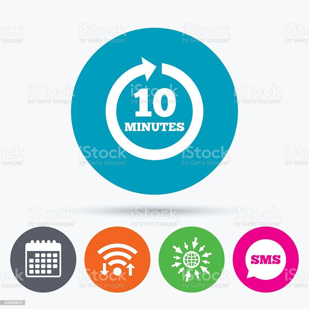 Every 10 minutes sign icon. Full rotation arrow. vector art illustration
