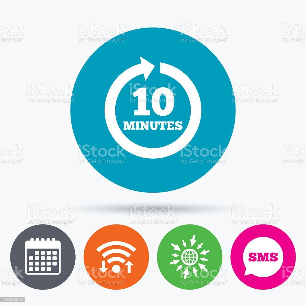 Every 10 minutes sign icon. Full rotation arrow. vector art illustration