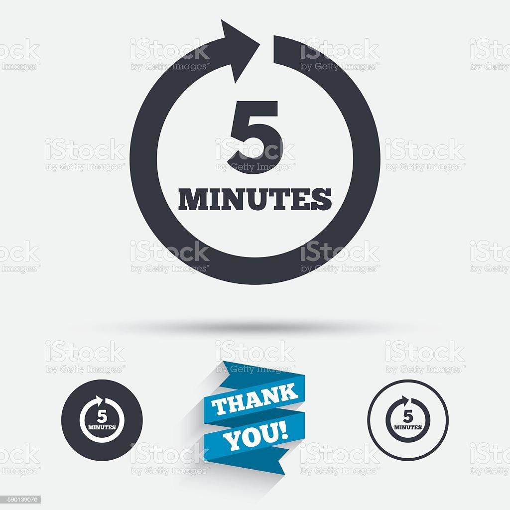 Every 5 minutes sign icon. Full rotation arrow. vector art illustration