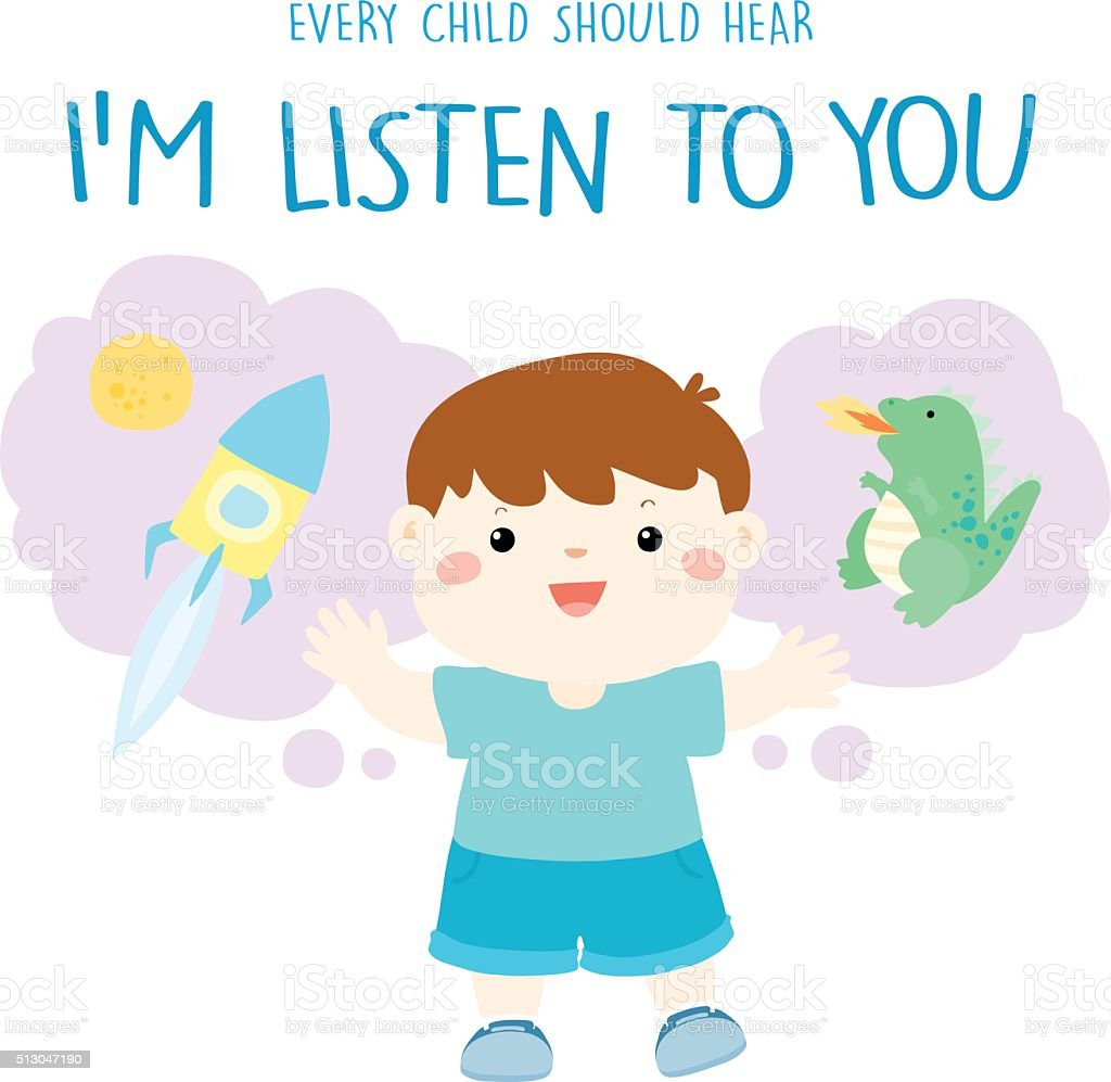 every child should hear I'm listen to you vector vector art illustration