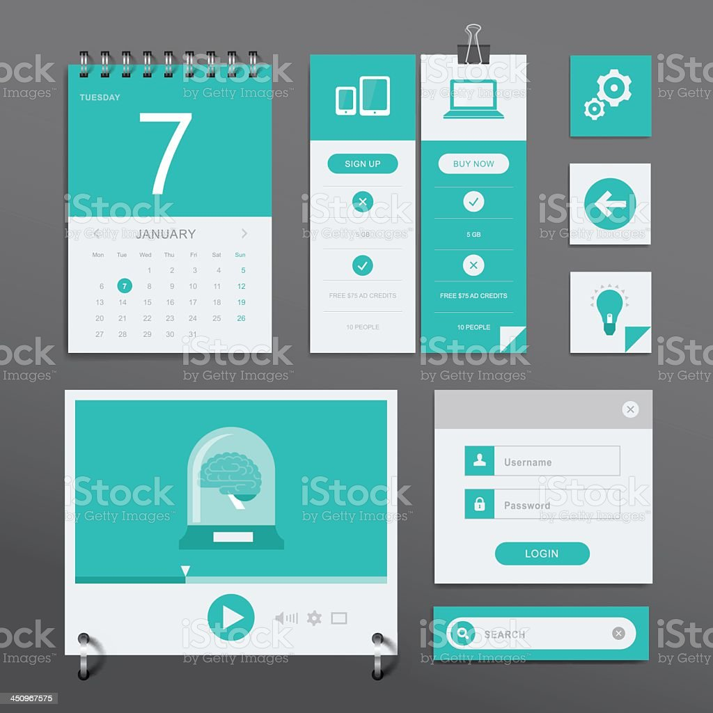 Every computer comes with UI set already installed vector art illustration