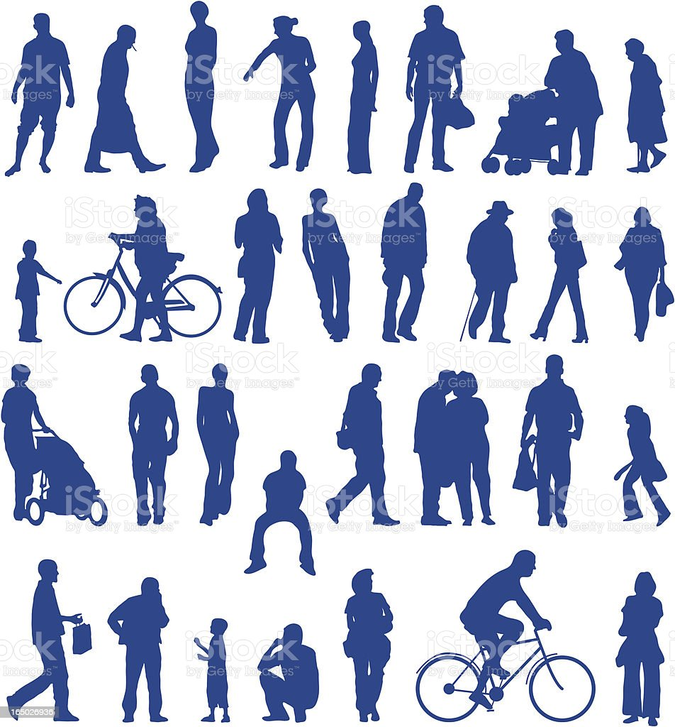 Everyday city people silhouettes royalty-free stock vector art