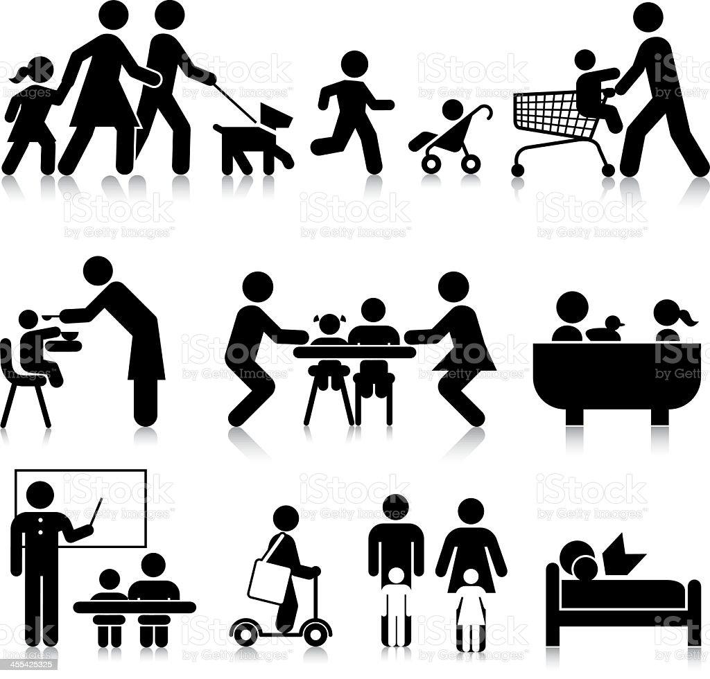 Everyday Family Activities vector art illustration