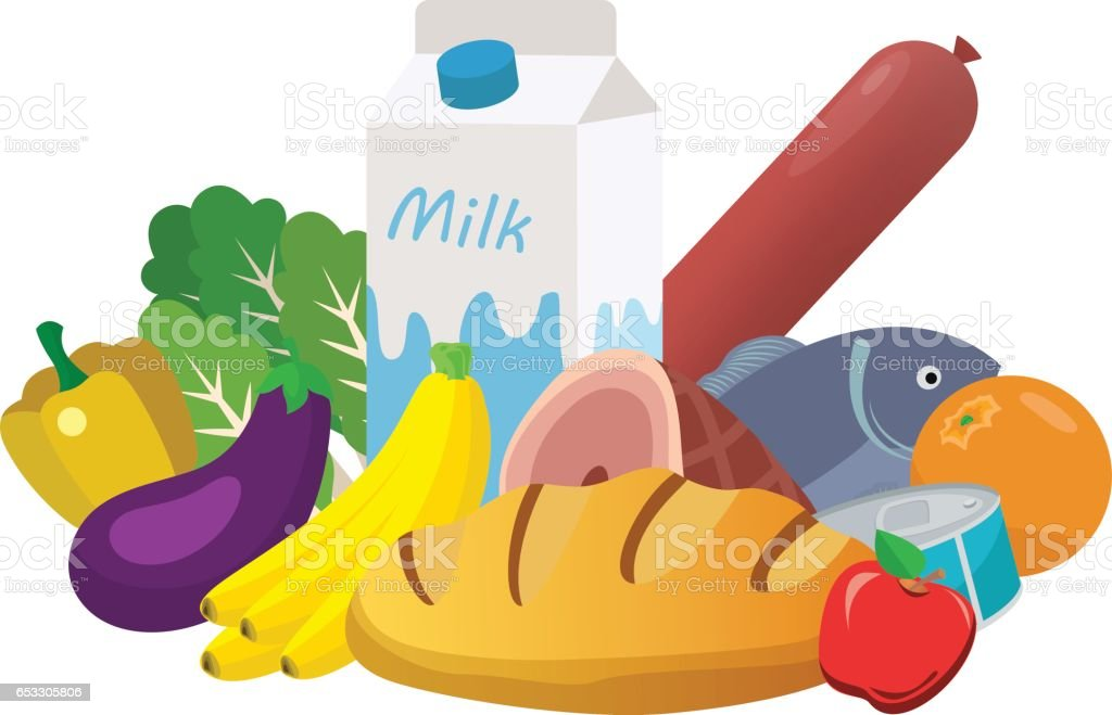 Everyday goods and food products vector art illustration
