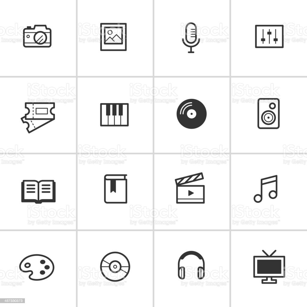 Everyday Media Icons — Inky Series vector art illustration