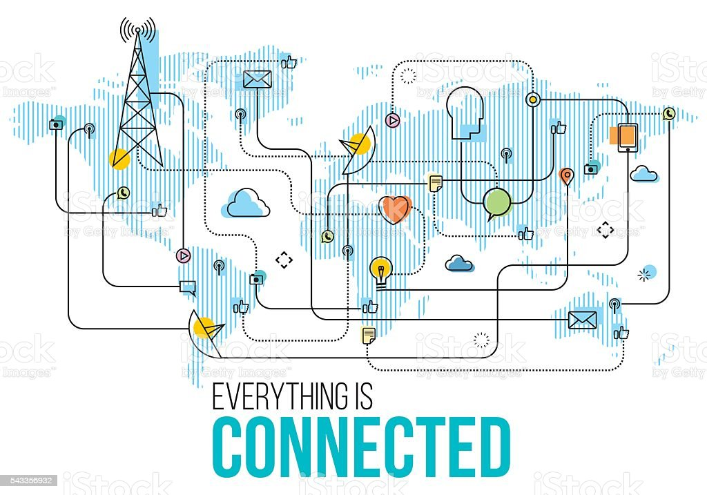 Every thing is connected vector art illustration