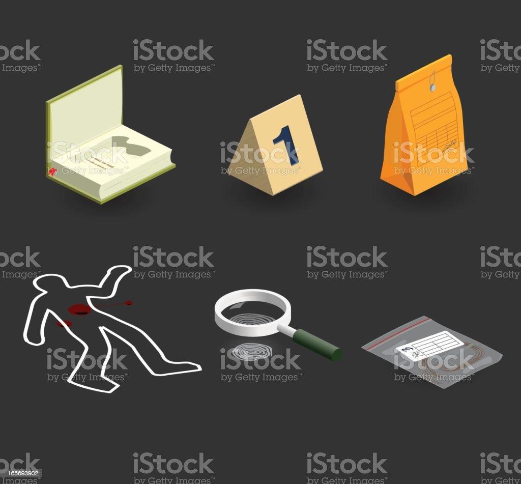 evidence icon set vector art illustration