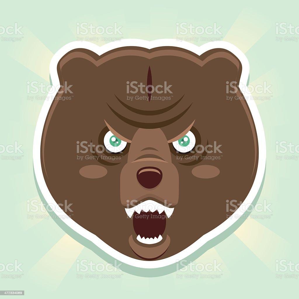 Evil bear face vector art illustration