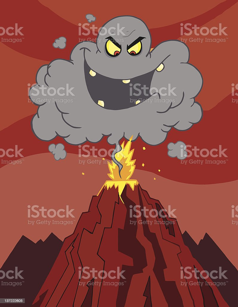 Evil Black Cloud Above An Erupting Volcano vector art illustration