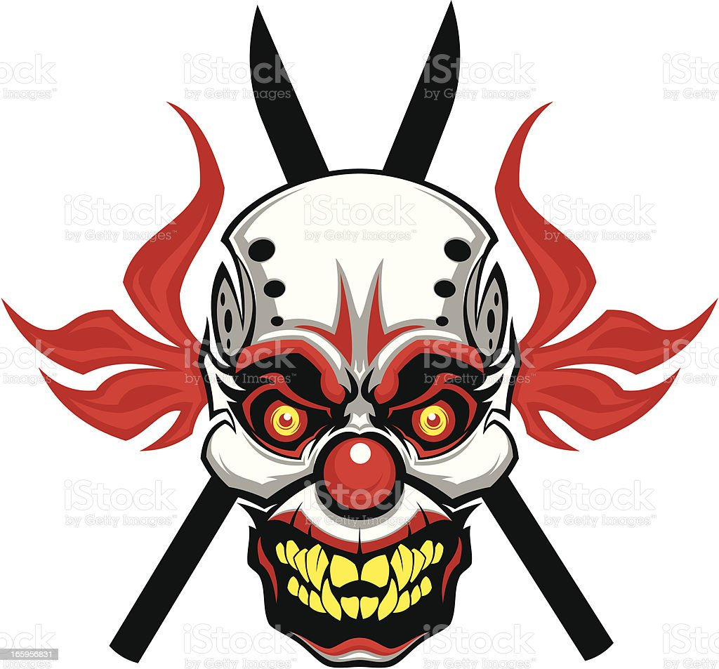 Evil clown mask vector art illustration
