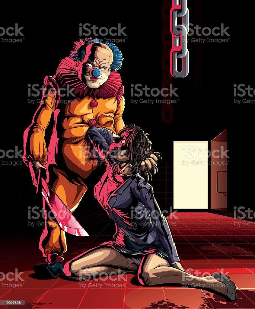 Evil clown with hostage woman. vector art illustration