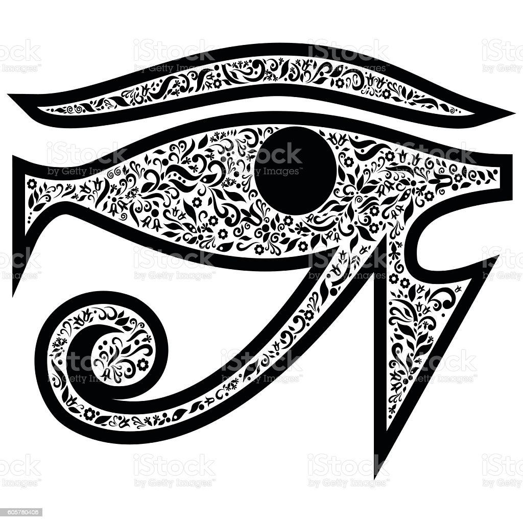 Evil Eye with floral elements in black and white vector art illustration