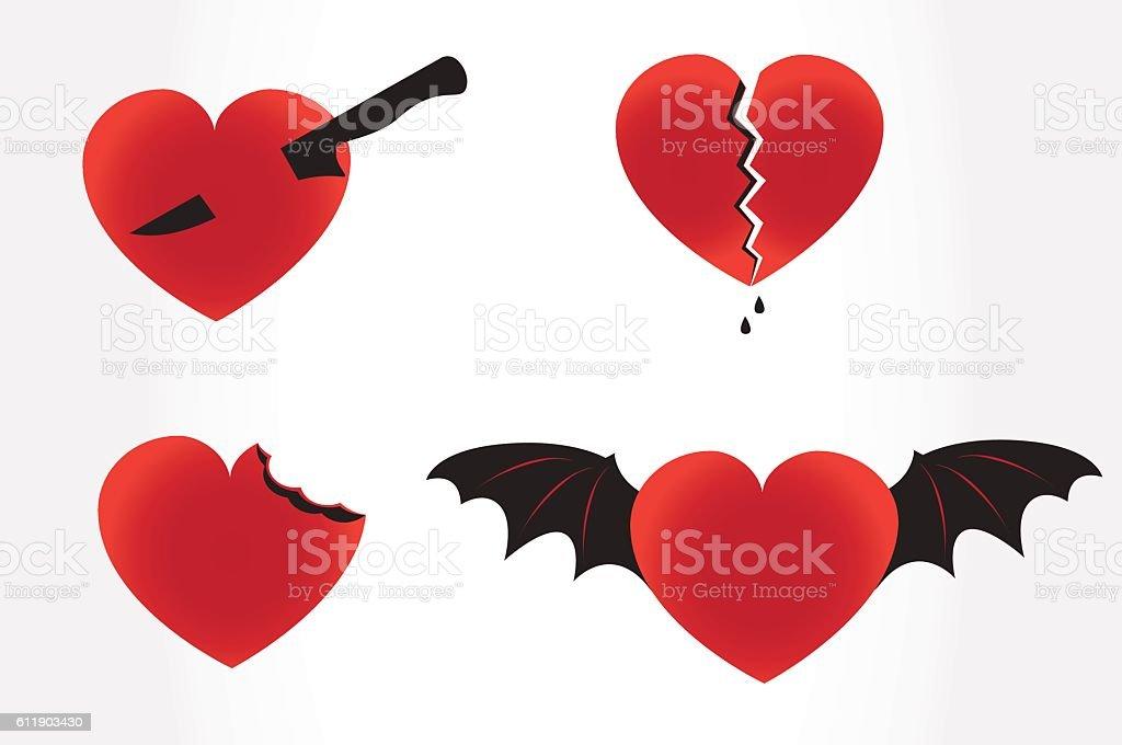 Evil hearts vector art illustration