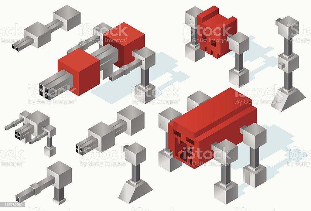 Evil isometric robots vector art illustration