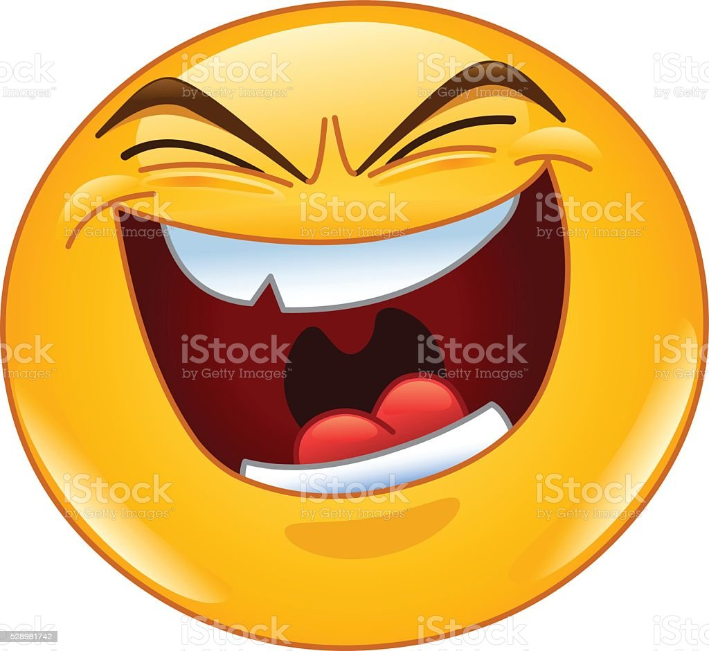 Evil laugh emoticon vector art illustration