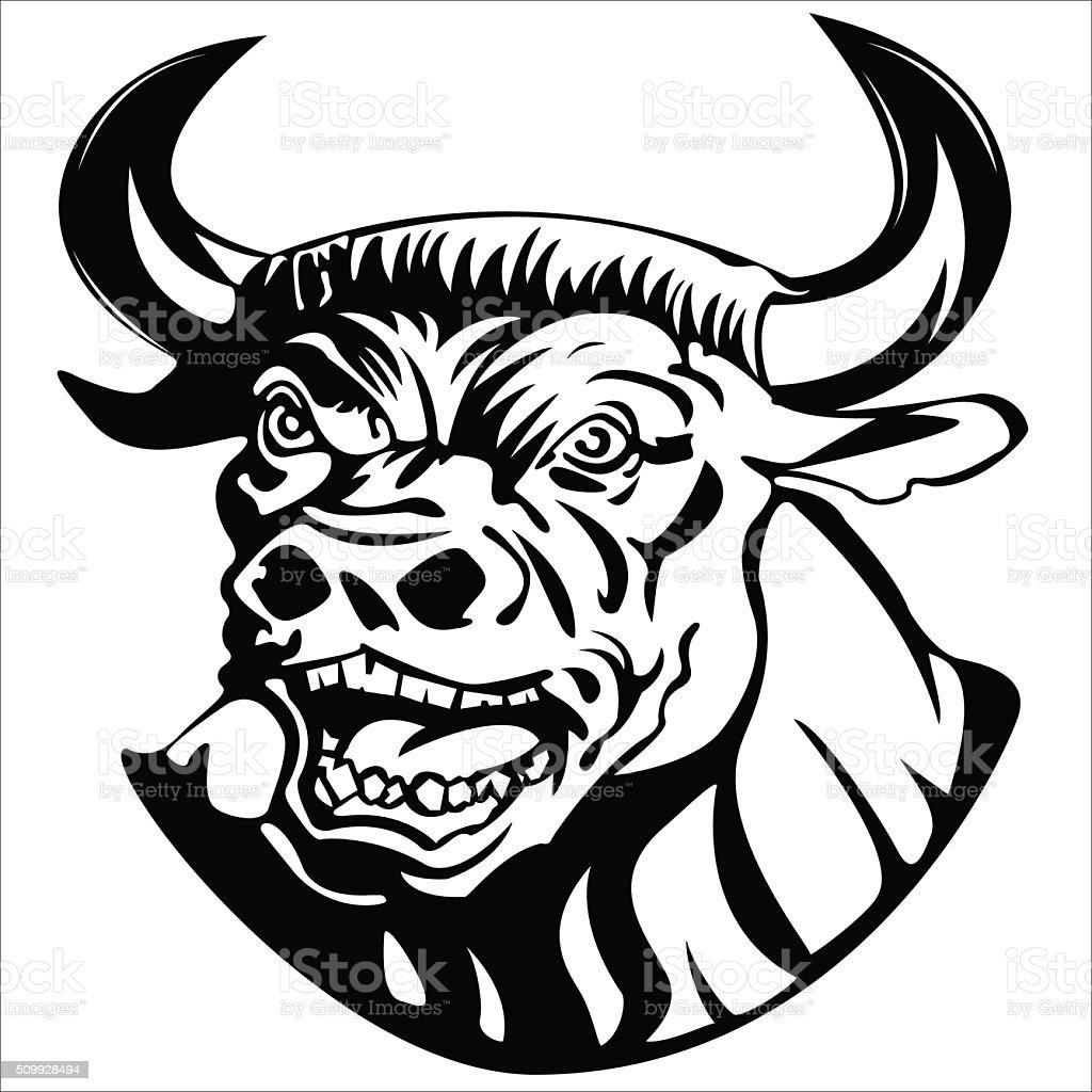 evil minotaur vector art illustration