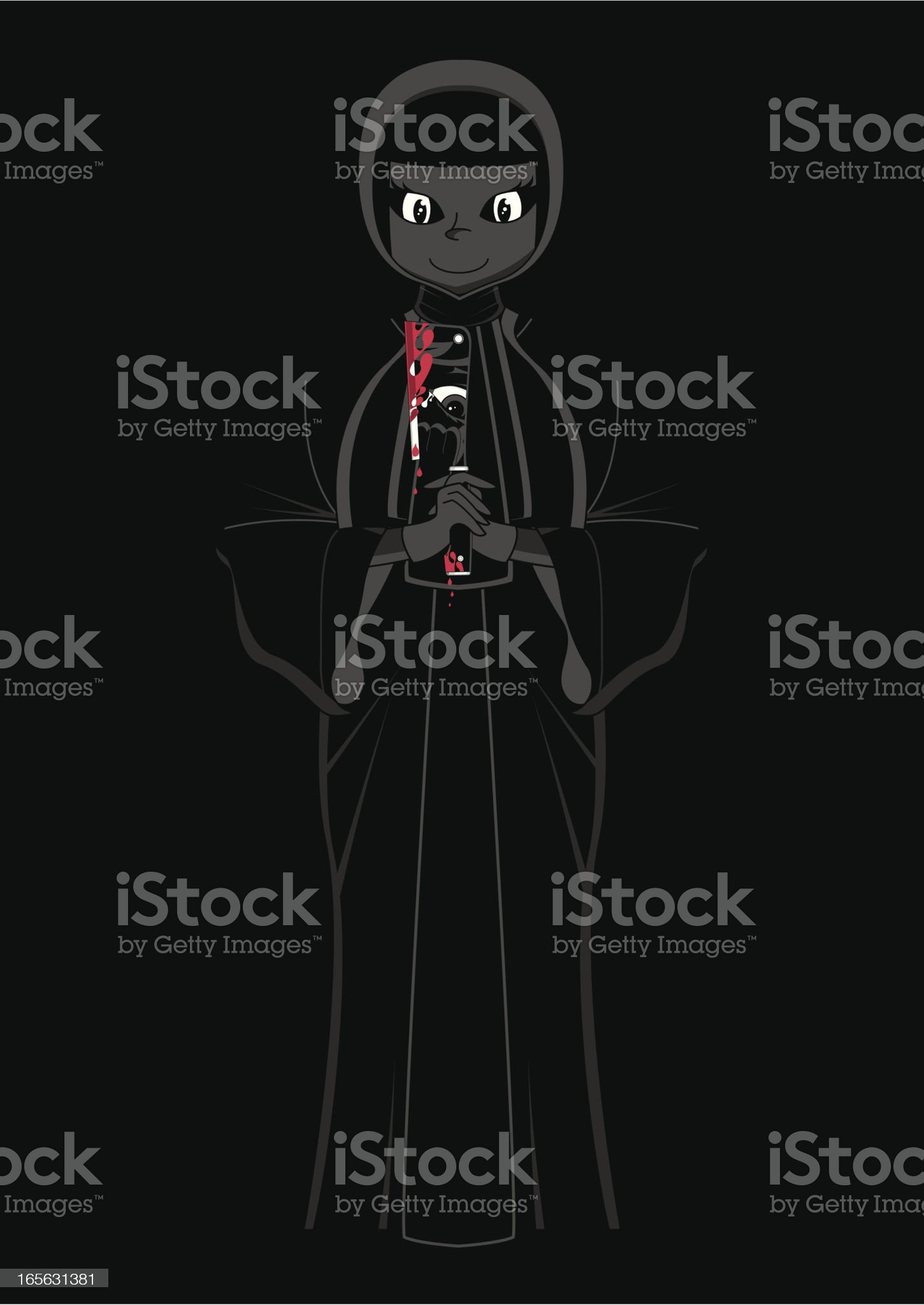 Evil Nun with Meat Cleaver royalty-free stock vector art