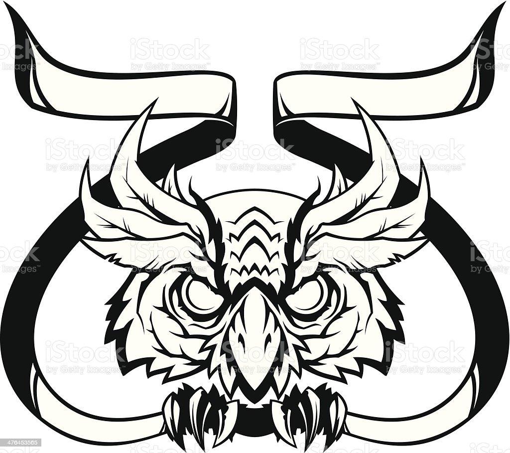 Evil owl head with banner vector art illustration