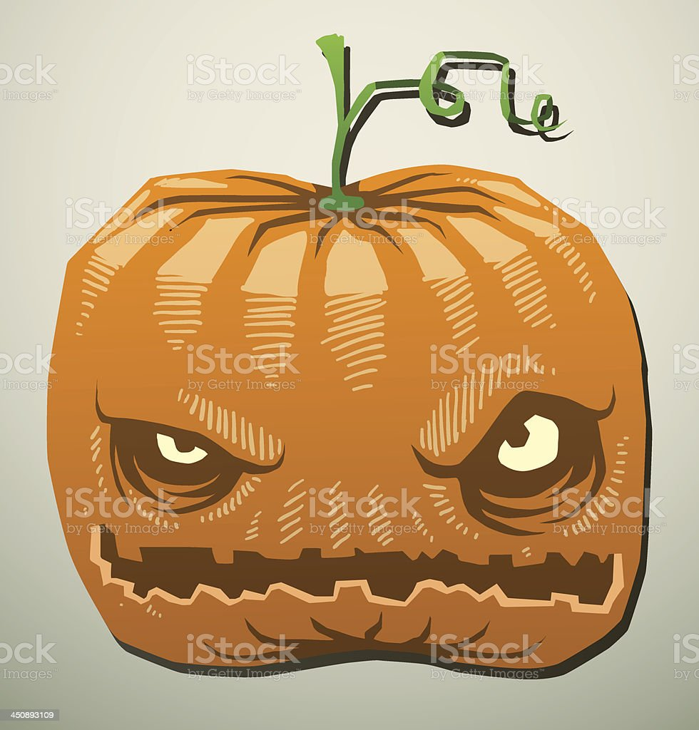 Evil pumpkin is angry royalty-free stock vector art