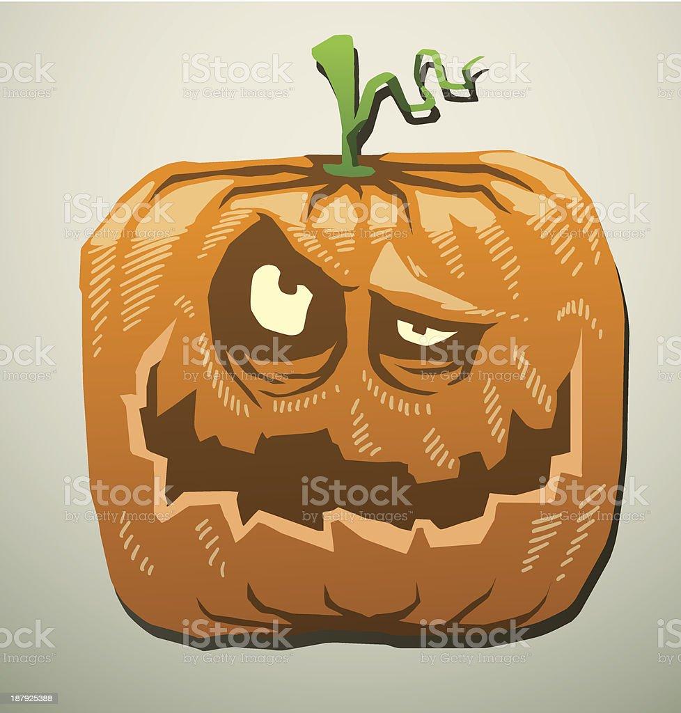 Evil pumpkin thinks royalty-free stock vector art