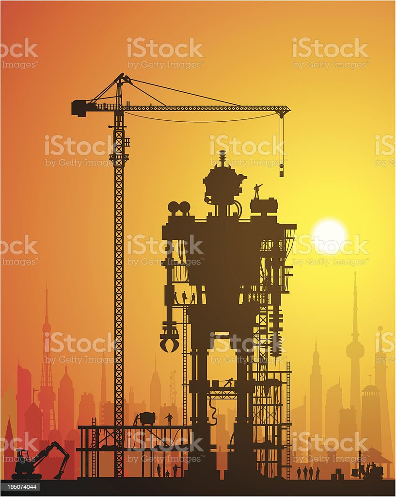 Evil Robot Under Construction in the City royalty-free stock vector art